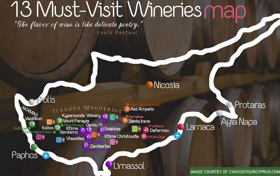 Limassol taxi route for a wine tour